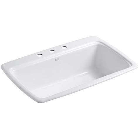 white enamel kitchen sinks kohler 5863 3 0 white 33 quot single basin top mount enameled