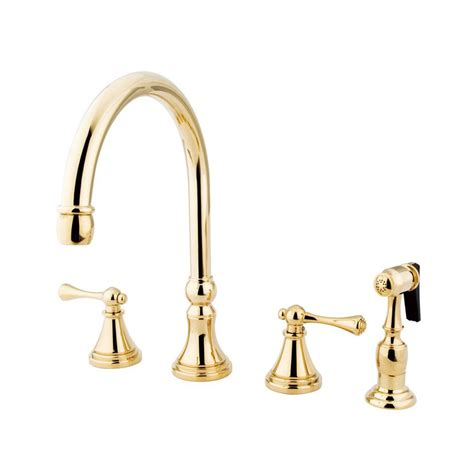 brass kitchen faucet shop elements of design polished brass 2 handle deck mount high arc kitchen faucet at lowes