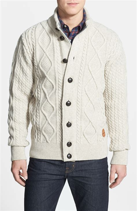 mens cable knit cardigan sweater barbour kirkham cable knit button sweater in beige for