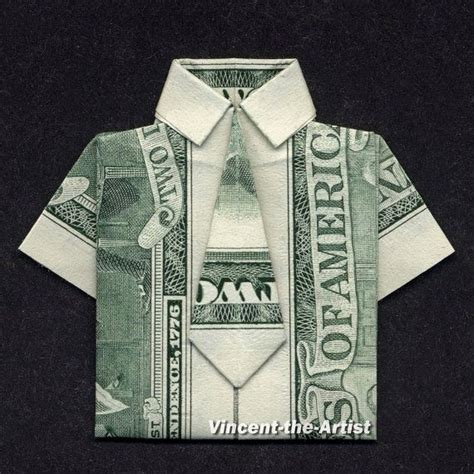 origami dollar bill shirt with tie dress shirt money origami clothes dollar bill