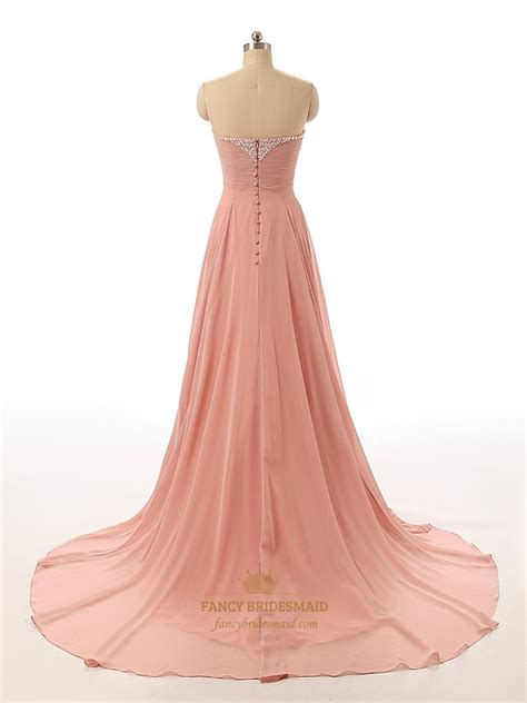 beaded chiffon bridesmaid dresses ruddy pink chiffon strapless sweetheart beaded neckline
