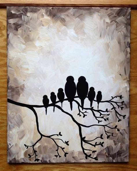 acrylic painting ideas black and white bird family silhouette black and white 16x20 quot painting