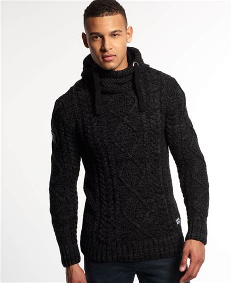 knitted hoodies superdry black blizzard knit hoodie for mens