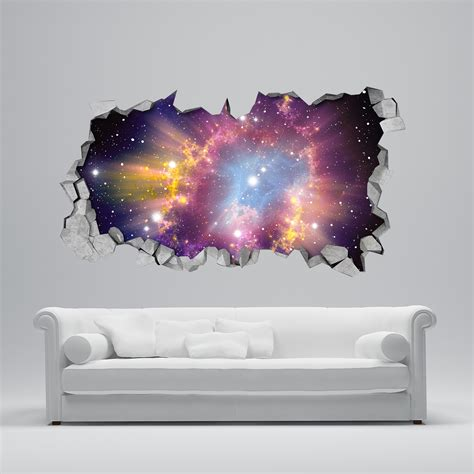 How To Apply Wall Stickers cosmic broken wall 3d moonwallstickers com
