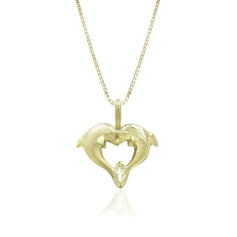 jewelry companies 14k yellow gold dolphin pendant necklace