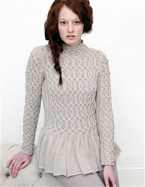 peplum knitting patterns cabled peplum sweater knitting knitting free