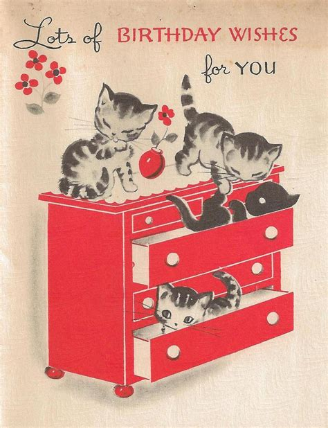 birthday cards vintage kittens birthday card it s my cake