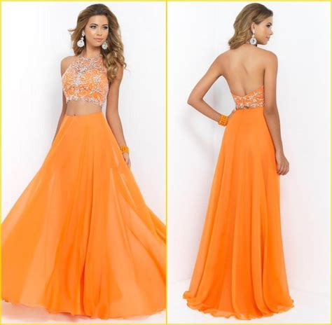 beaded top prom dresses new fashion two orange beaded top prom dresses