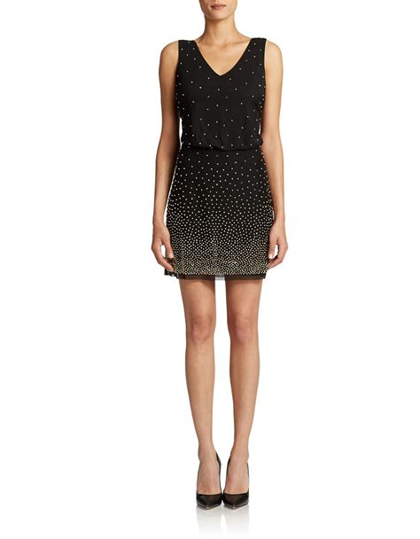 black beaded dress xscape beaded cocktail dress in black lyst