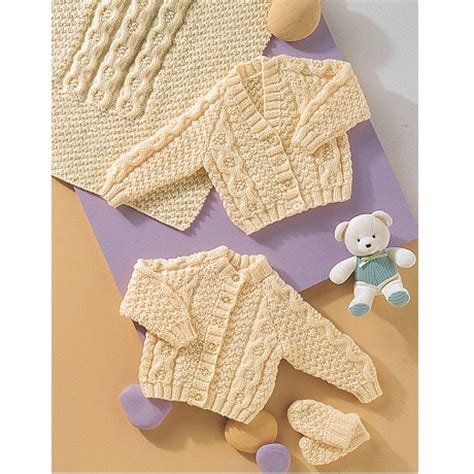 baby aran knitting patterns uk baby aran pattern 4772 cardigans blanket and mittens