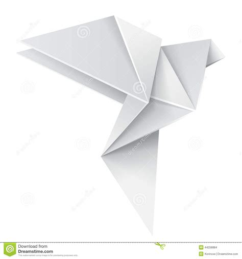 origami white paper origami dove stock vector image of folded creative