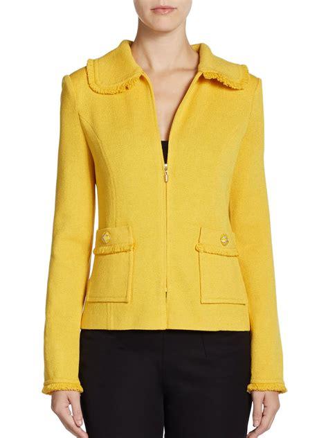 st santana knit jacket st fringed santana knit jacket in yellow mustard