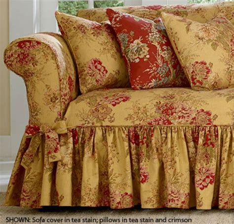 waverly sofa slipcovers surefit ballad bouquet by waverly slipcover details