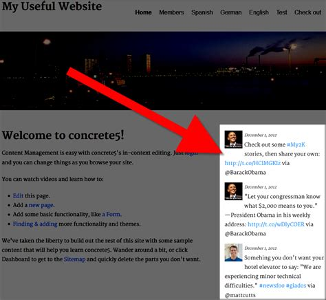 website to adding a feed in concrete5 web hosting hub