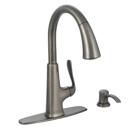 pfister faucets kitchen pfister pasadena single handle pull sprayer kitchen faucet with soap dispenser in slate f