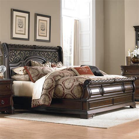 king sleigh bed bedroom sets liberty furniture arbor place king traditional sleigh bed