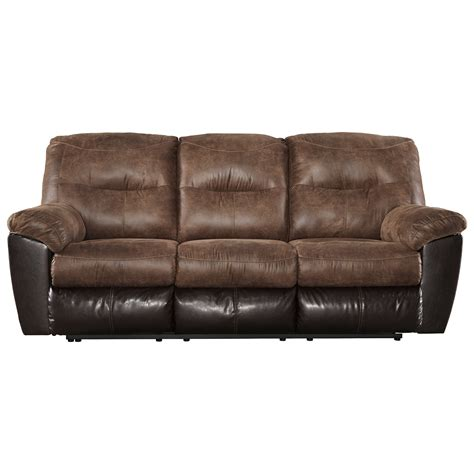 two tone reclining sofa signature design by follett two tone faux leather