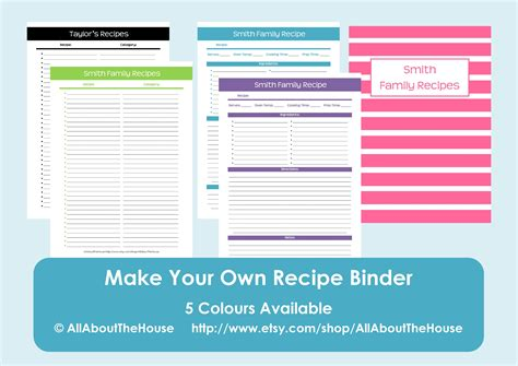 how to make your own recipe cards make your own personalised printable recipe binder