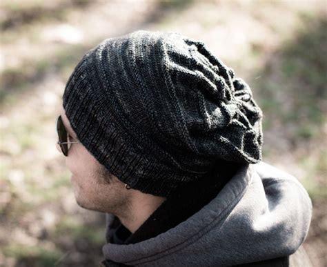 mens slouchy beanie knitting pattern slouch knit hat pattern allfreeknitting
