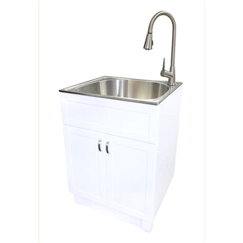 laundry sink with cabinet shop transform 25 in x 22 in 1 basin freestanding stainless steel utility tub with drain with