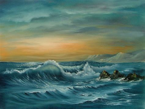 bob ross seascape paintings items similar to original seascape in using the bob