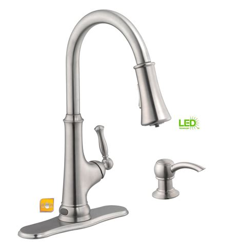glacier kitchen faucet glacier bay touchless led single handle pull sprayer