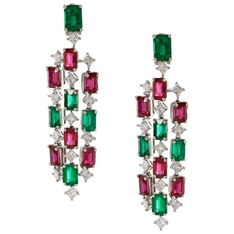 ruby chandelier emerald and ruby chandelier earrings with diamonds for