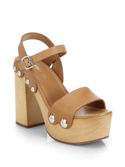 leather platform sandals prada wooden heel leather platform sandals in brown lyst