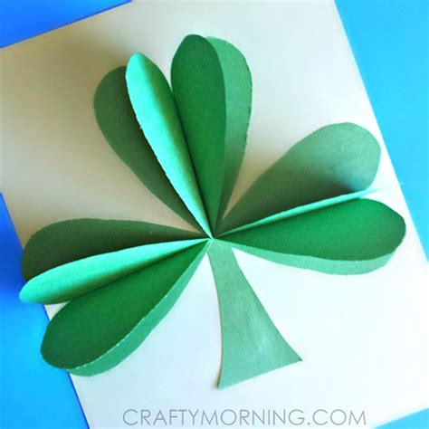 st patricks day craft for 3d paper shamrock craft for st s day crafty morning