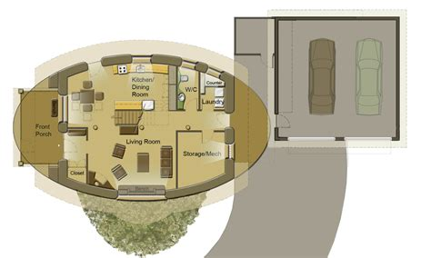 1 Bedroom Cottage Floor Plans oval straw bale house soma earth