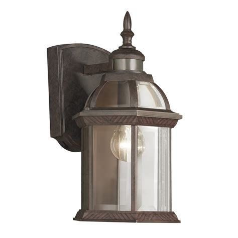 outdoor motion activated light shop portfolio 14 5 in h bronze motion activated outdoor