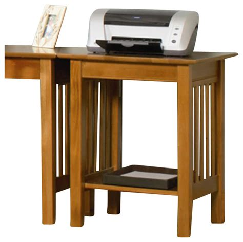 Atlantic Furniture Mission Printer Stand in Caramel Latte   Transitional   Office Carts And