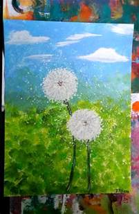 acrylic painting ideas on paper canvas paper acrylic painting dandelions two of a