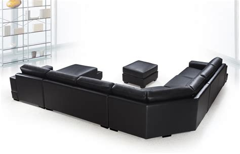 u shaped leather sectional sofa ritz modern black leather quot u quot shaped sectional sofa