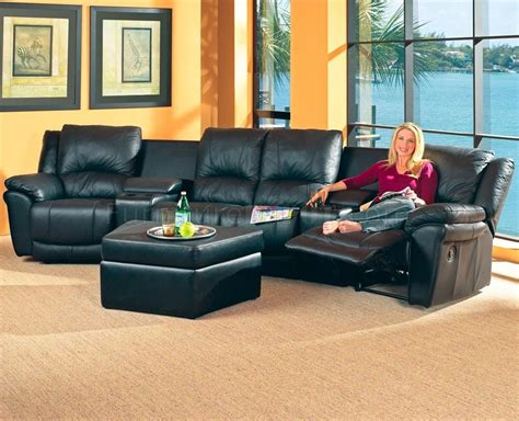 theatre sectional sofas black bonded leather match modern home theater sectional sofa