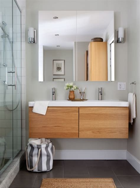 meuble de salle de bain suspendu ikea gormorgon odensvik wood charcoal white sink and walnut wood