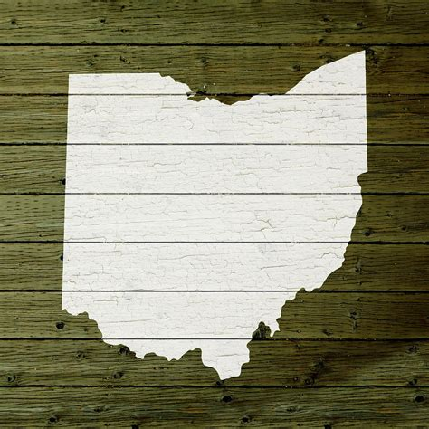 ohio woodworking map of ohio state outline white distressed paint on