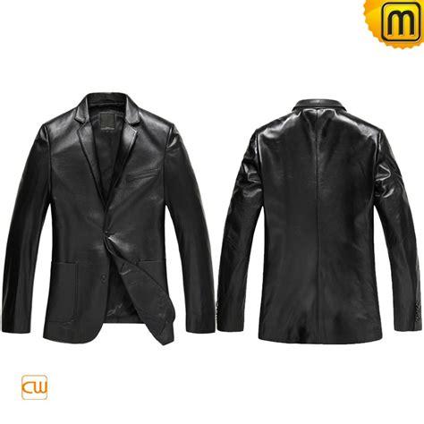 leather sleeve blazer mens black leather blazer jacket cw840801