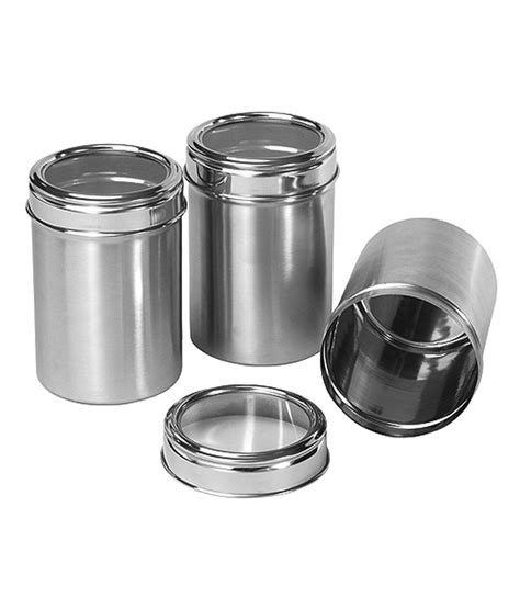 storage canisters kitchen dynore stainless steel kitchen storage canisters dabba with see through lid set of 3 medium