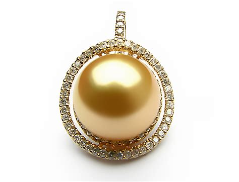pearls with gold golden south sea pearl pendant 12mm 13mm aaa