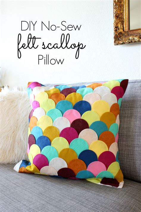 no sew crafts for easy crafts no sew diy felt scalloped pillow