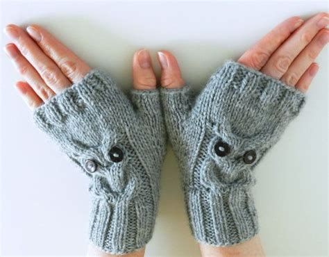 owl fingerless gloves knitting pattern pdf knitting pattern owl cable knit fingerless mittens