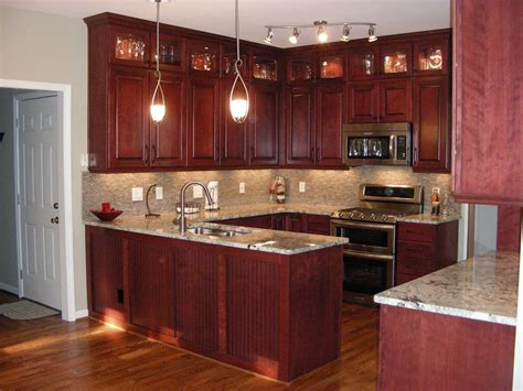 Cherry Cabinets by Cherry Kitchen Cabinets With Gray Wall And Quartz