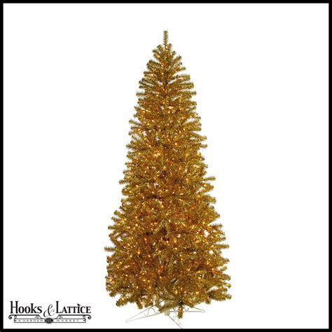 gold trees pre lit 7 5 ft gold tinsel pre lit artificial tree w