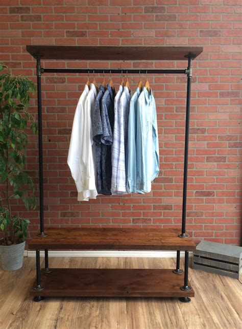 clothes rack with shelves industrial pipe clothing rack with wood shelf 48 wide
