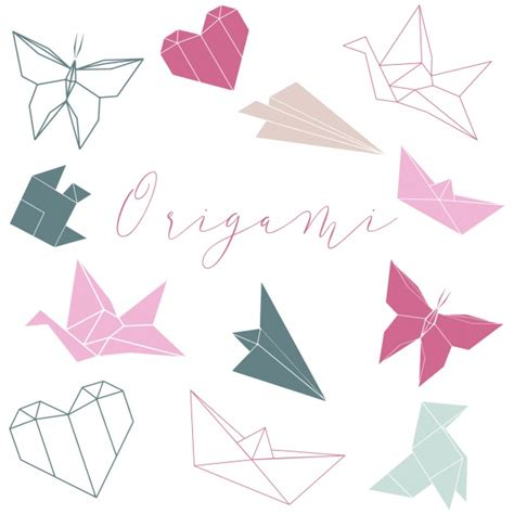 origami shapes for origami shapes collection vector free