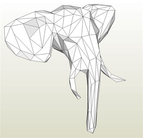 Papercraft .pdo file template for Animal - Elephant Head.