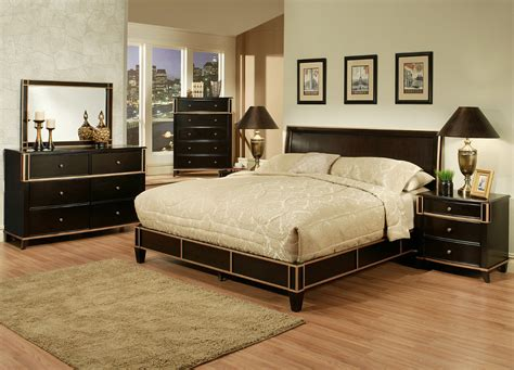 wooden bed set black wooden bed with headboard and beige bedding set on