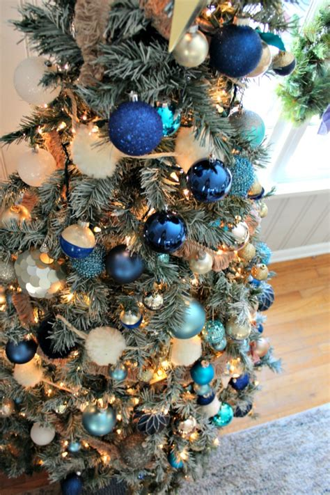 blue tree ornaments decorations of blue on white tree southern