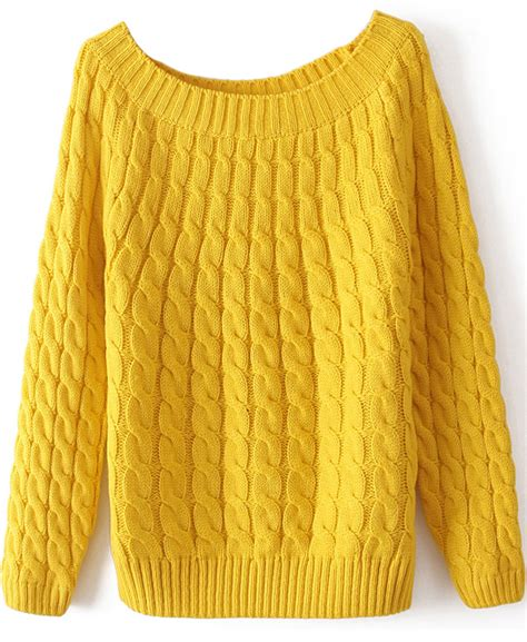 yellow knit sweater yellow sleeve cable knit sweater shein sheinside